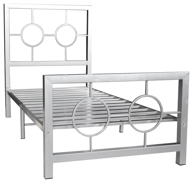 modern black circle beds with headboard for kids | Eternity, Metal Bed Frame, Twin, Circle Design ...
