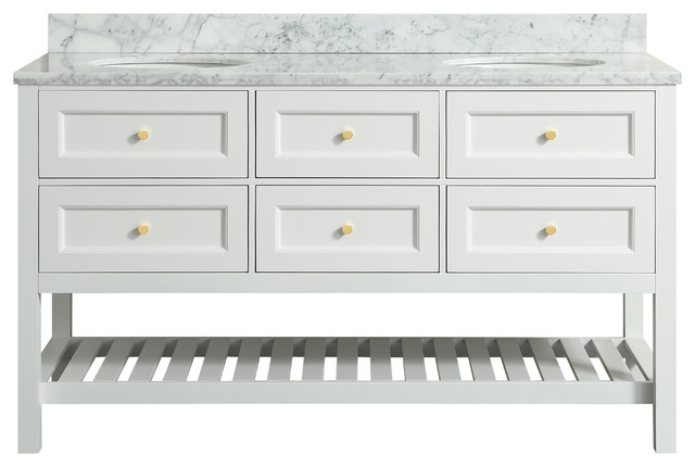 "Elma White Bathroom Vanity With Carrara Marble Top, 60""."