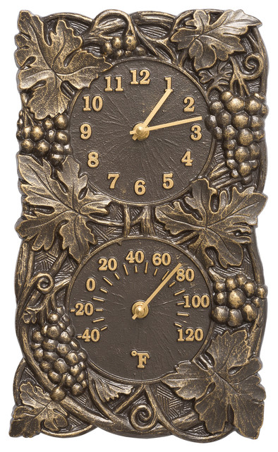 Grapevine Indoor Outdoor Wall Clock Thermometer Traditional Clocks By Whitehall Products