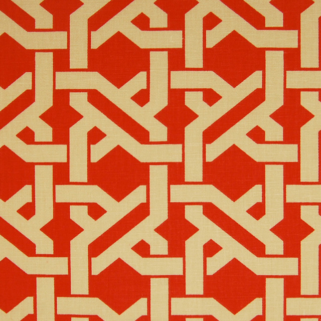 Rouge Red Geometric Lattice Asian Cotton Print Upholstery