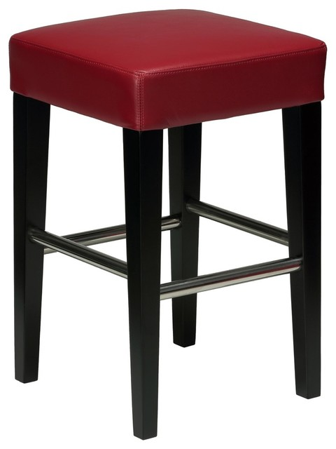 Cool Cortesi Home Denver Red Counter Stool Genuine Leather With Black Legs Uwap Interior Chair Design Uwaporg