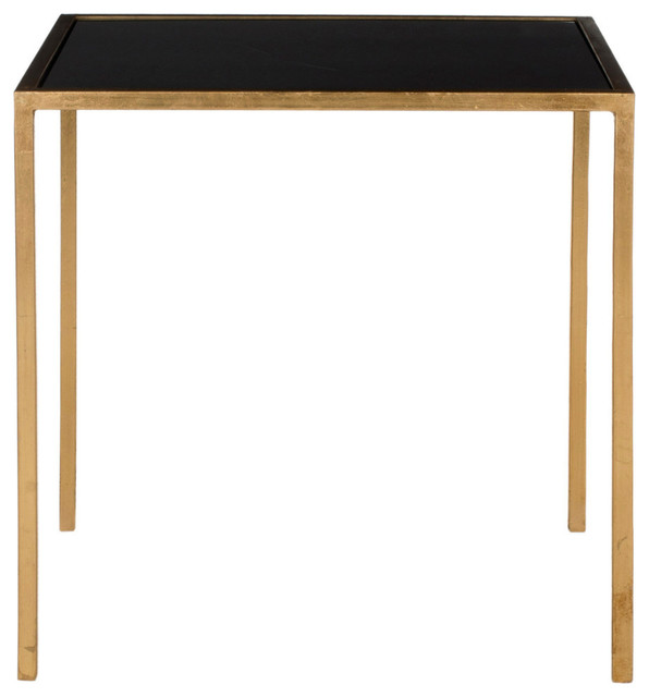 Safavieh Kiley Accent Table, Gold, Black Glass Top.