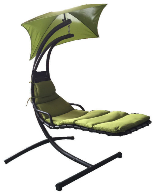 GDF Studio Afzelius Outdoor Hanging Chair with Green Cushion