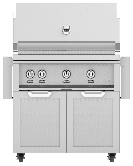 "Freestanding Grill With Double Door Cart, Steeletto, Natural Gas, 36""."
