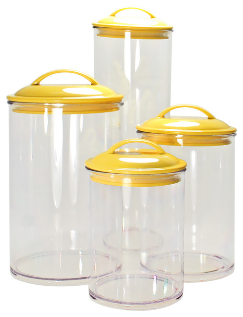 Awesome Acrylic Food Storage Containers Part - 10: Calypso 4-Piece Acrylic Canister Set, Lemon Contemporary-food-storage- Containers
