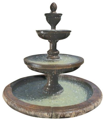 Mediterranean Outdoor Water Fountain With Old Euro Basin Traditional Outdoor Fountains And