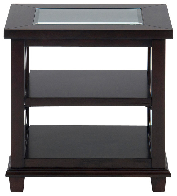 Jofran Panama Rectangle End Table With 2 Shelves And Glass Insert  Transitional Side Tables