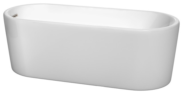 """Ursula 67"""" Freestanding Tub, White With Drain And Overflow Trim, Nickel."""