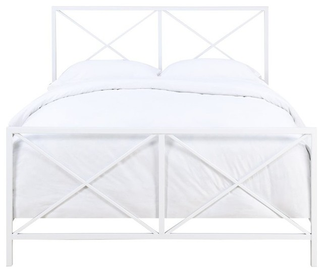 Pulaski Queen Metal Bed, White