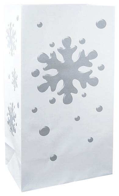 Flame Resistant Luminaria Bags, Snowflake, Set Of 12.