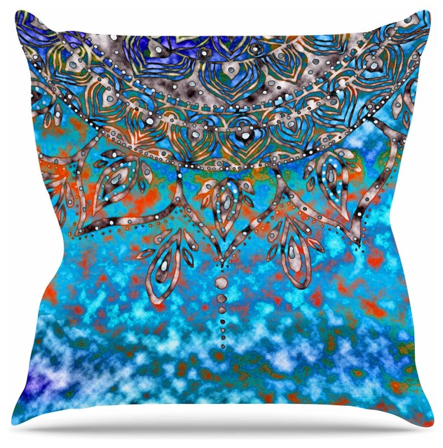 "Li Zamperini ""turquoise Mandala Art"" Throw Pillow, 16""x16""."