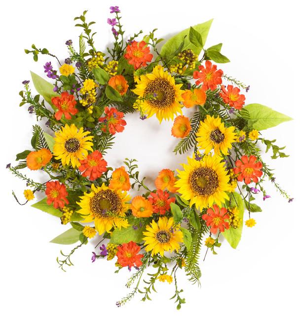 Sunflower Wreath 22d Polyester/plastic.