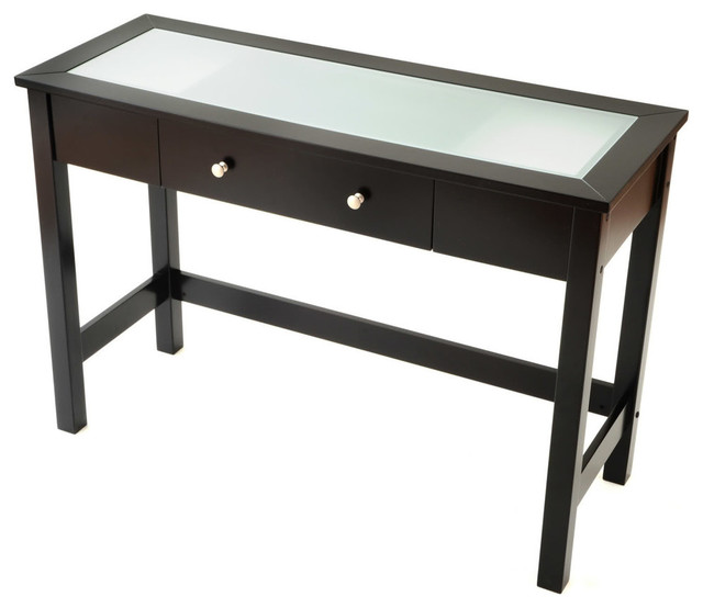 Sofa/Console Table With Glass Insert Top And Drawer   Black Console Tables