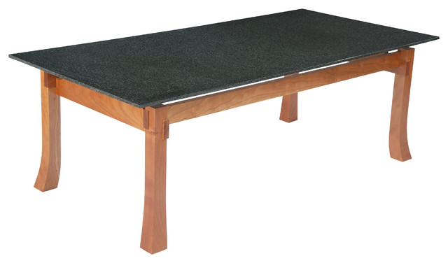 Coffee Table Absolute Black Granite Top And Cherry Wood