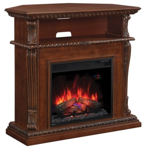 Corinth Wall Corner Tv Stand With 23 Ir Qtz Fireplace Vintage Cherry Traditional Indoor