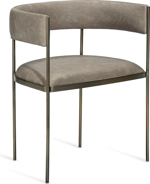 Ryland Dining Chair, Distressed Taupe, Antique Bronze