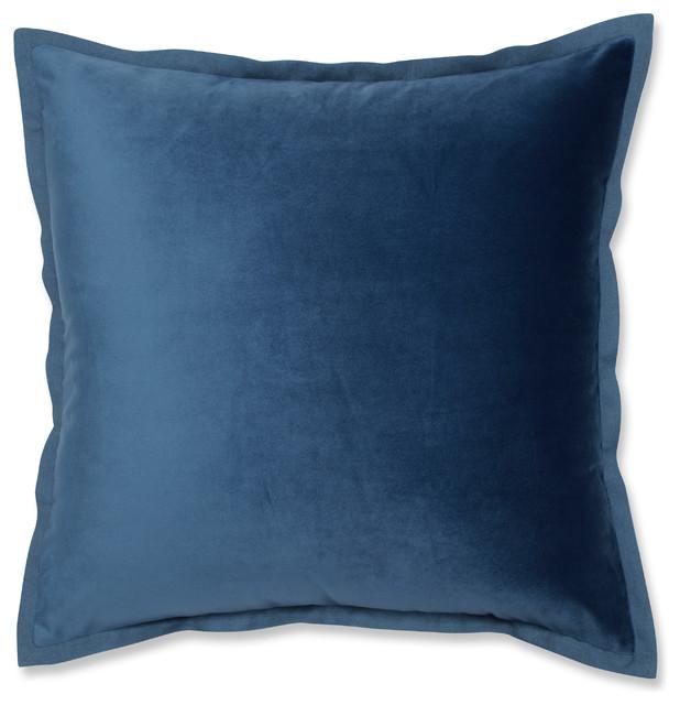 """Velvet Flange Azure Blue Throw Pillow, 18""""."""