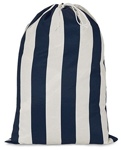 Navy Blue Vertical Stripe Laundy Bag.