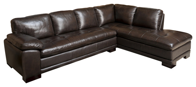 Abbyson Living Tekana 2-Piece Leather Sectional, Dark Brown