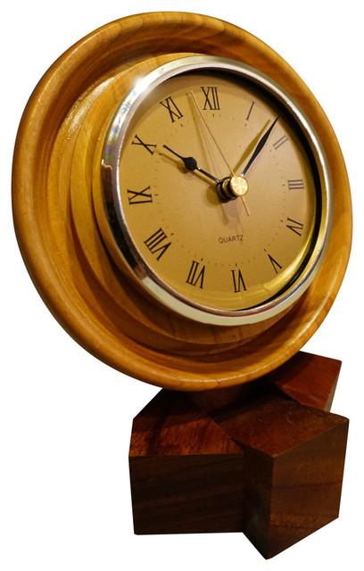 Cherry Desk Clock Contemporary Desk And Mantel Clocks
