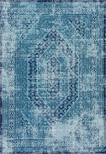 Elaborate Floral Garden Hexagons Area Rugs, Blue, 8&x27;x10&x27;.