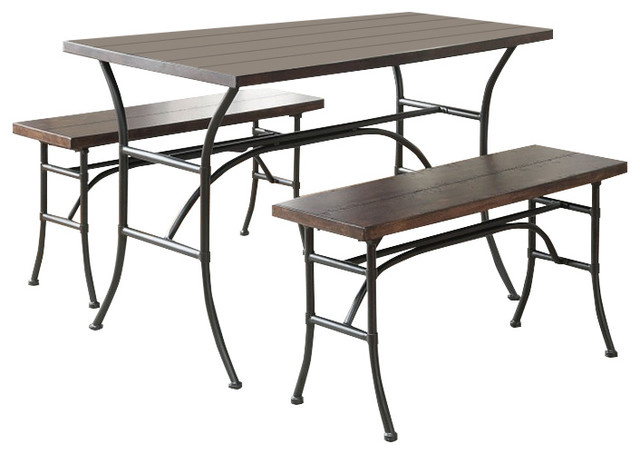 Walnut Finish Antique Black Metal Finish Dining Table And