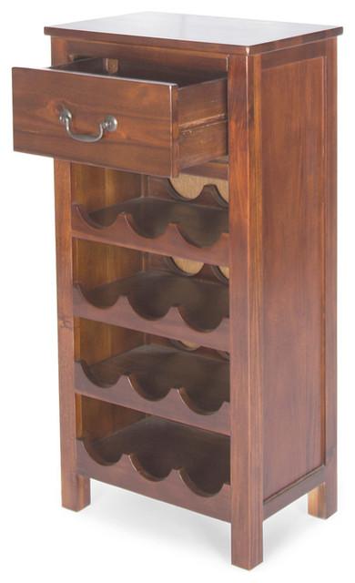 Shelby Dark Oak Acacia Wood With Faux Wood Overlay Wine Rack