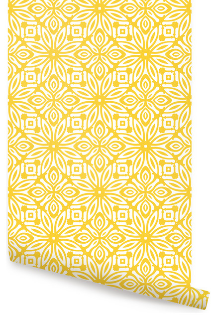 Geo Flowers Peel And Stick Wallpaper Contemporary Wallpaper By Simple Shapes
