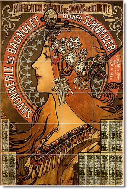 Picture tiles llc alphonse mucha poster art painting for Ceramic mural art