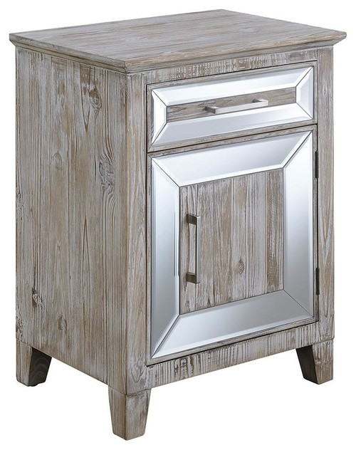 Mirrored Cabinet with Drawer in Distress Weathered White Finish