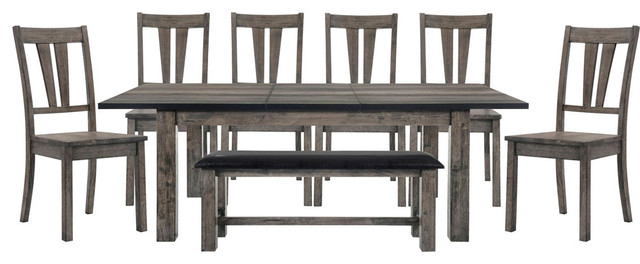 Drexel Dining 8 Piece Set With Table, Six Wooden Chairs And Bench
