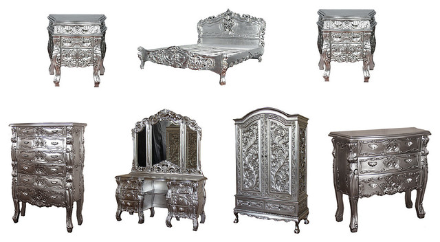 Real Silver Leaf E King Rococo Bed Bedroom 8 Piece Set - Victorian ...