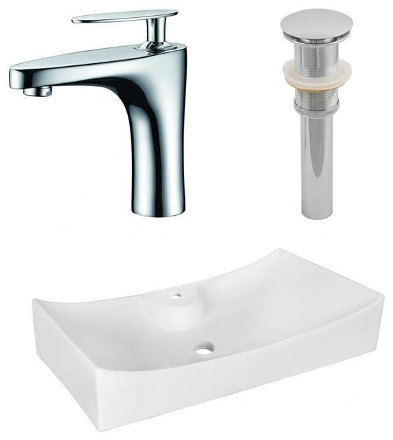 26.25 In. Above Counter Bathroom Vessel Sink Set In White