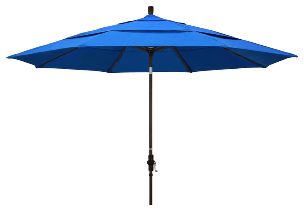 11 Ft Tilting Patio Umbrella With Pacific Blue Canopy Shade