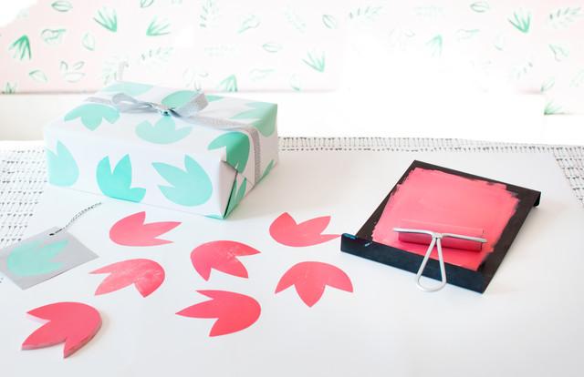 Holiday Diy Block Printed Gift Wrap