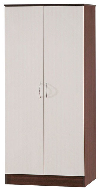 Contemporary Wardrobe, High Gloss MDF With 2-Door, Shelf and Hanging Rail