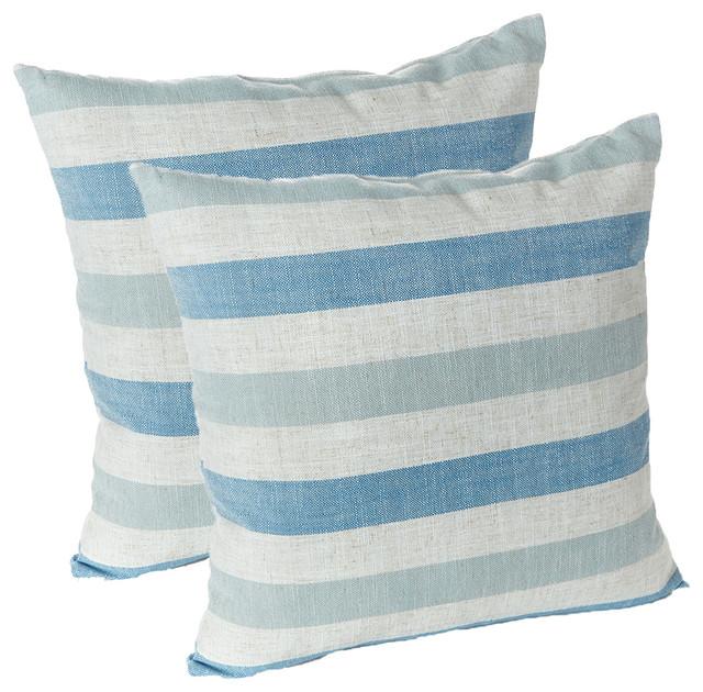 Liza Stripe 18x18 Decorative Throw Pillows, Set Of 2, Blue.