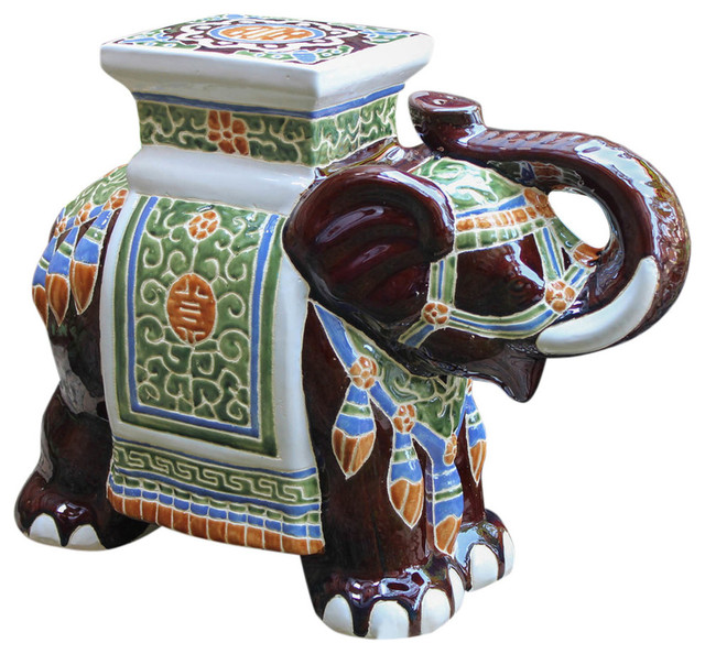 Large Porcelain Elephant StoolBrown Mix asian-accent-and-garden-stools  sc 1 st  Houzz & International Caravan Large Porcelain Elephant Stool Dark Blue ... islam-shia.org