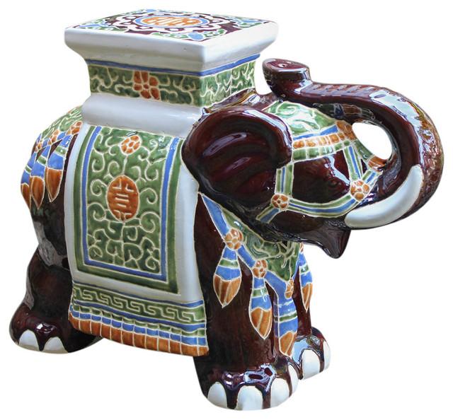 International Caravan Large Porcelain Elephant Stool Dark