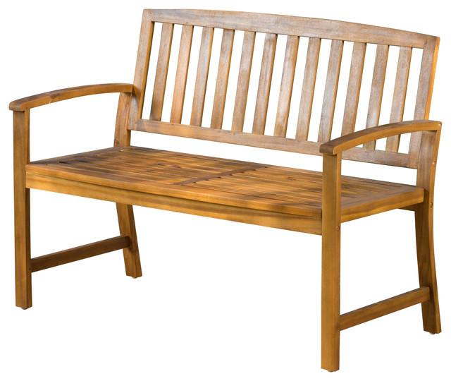 Contemporary Outdoor Benches: Tamika Teak Finish Acacia Bench