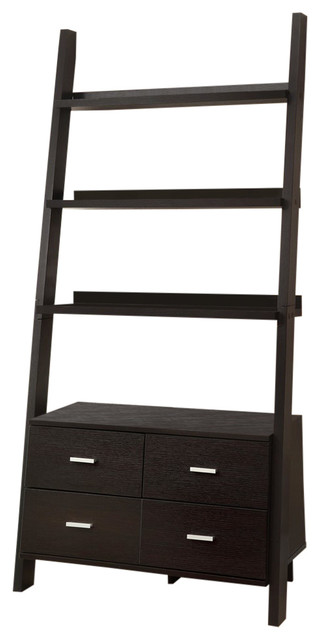 Ladder Bookcase With 4 Storage Drawers And Open Shelves, Cappuccino.