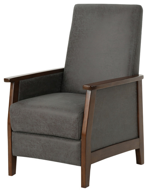 Alex Exposed Wood High Back Fabric Push Back Recliner, Slate, Brown