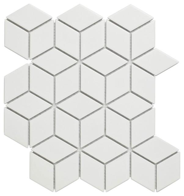 Glazed Porcelain Mosaic Tile Sheet Paris Rhombus Matte White, Set of 10 Sheets
