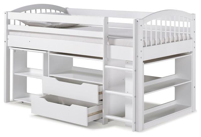 Addison Junior Loft With Storage Drawers And Bookshelf, White.