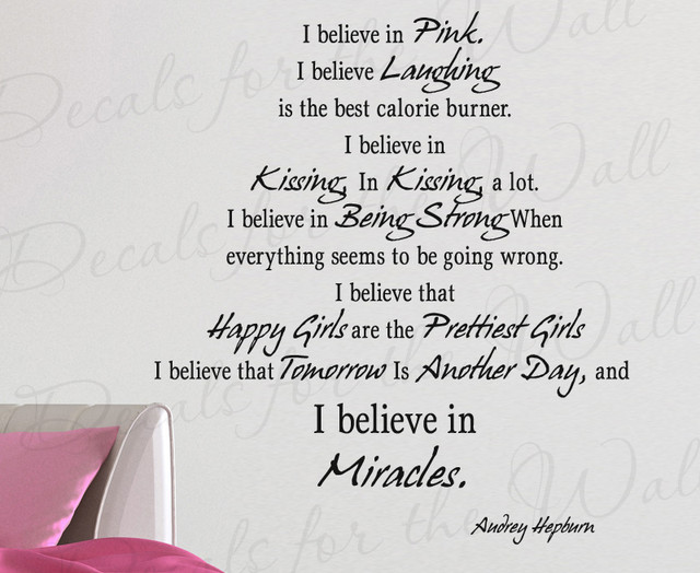 Wall Decal Quote Vinyl Sticker Art Mural Audrey Hepburn Believe In  Something I95 Modern Wall Part 63