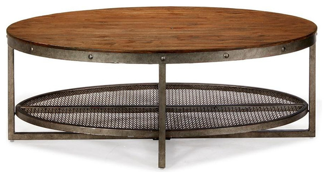 Rustic Chic Oval Coffee Tail Table With Wood Top