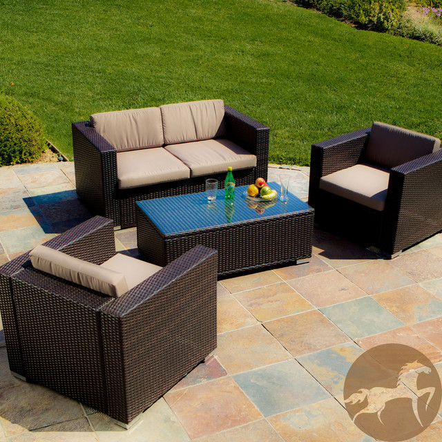 Christopher Knight Home Murano Pe Wicker Outdoor 4 Piece Sofa Set Contemporary Patio Furniture And By