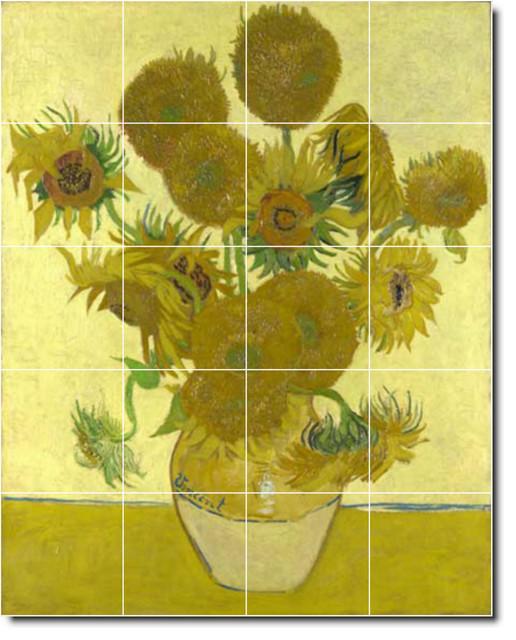 Picture tiles llc vincent van gogh flowers painting for Ceramic mural paintings