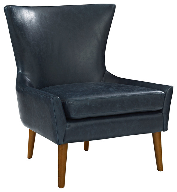 Keen Faux Leather Armchair, Blue by LexMod