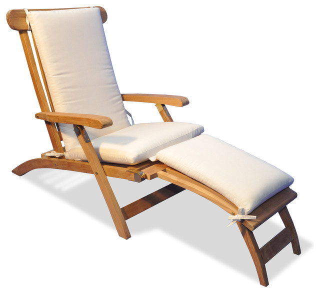 Beau Teak Steamer Chair Chaise Lounge With Sunbrella Cushion, Canvas Canvas
